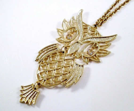 Vintage Owl Necklace Large Articulated Goldtone (Rhinestone Eyes)