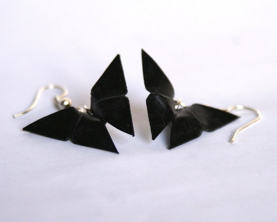 Black origami butterfly earrings