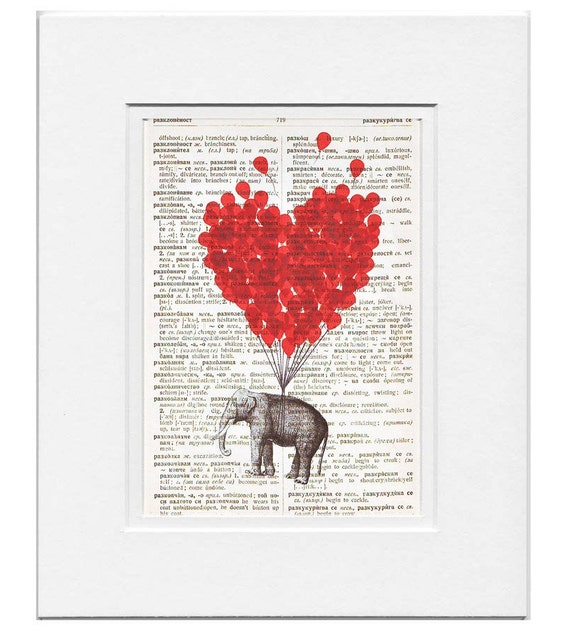 LOVE CARRIES All - Original Art Print  on Vintage Dictionary Page- Free Shipping Worldwide