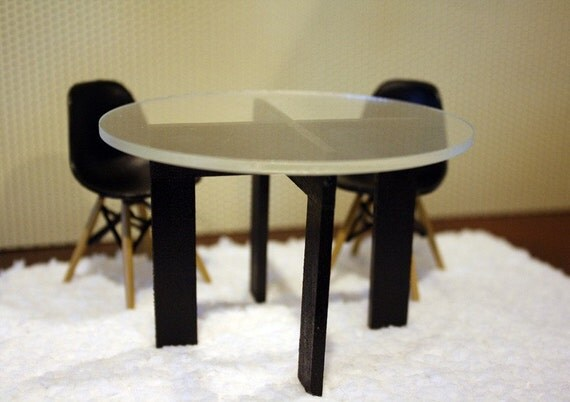 Modern Minimalist Dining, Kitchen Table with Acrylic Top, Dollhouse Miniature Furniture in 1:12 Scale