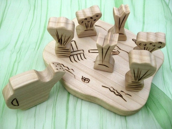 Gardening Play Set - Handmade Wooden Toy --- Made to Order