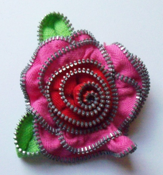 Hot Pink and Red Valentine Rose Floral Brooch / Zipper Pin by ZipPinning 1636