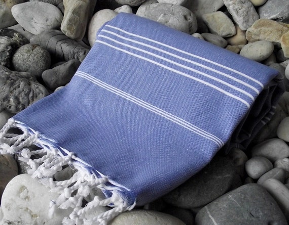 Best Quality Hand-Woven Turkish Cotton Bath Towel or Sarong-Blue and White Stripes