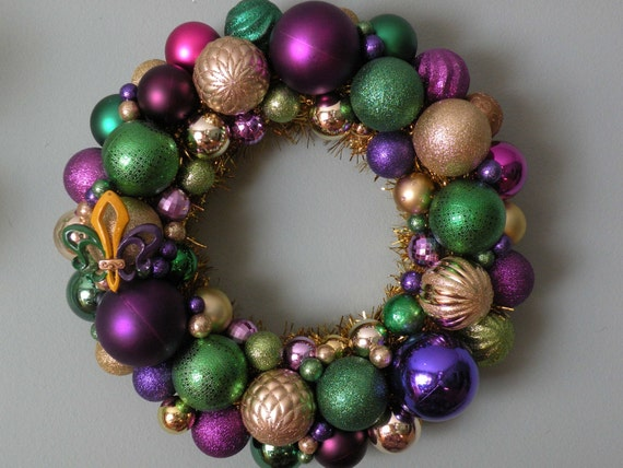 Mardi Gras Ornament Wreath
