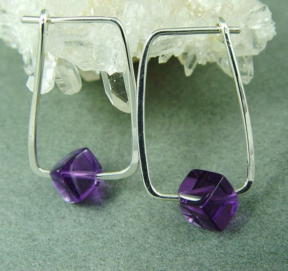 RectangularSilver Hoops with Natural  Amethyst Cubes...By Fallingleafjewelry on Etsy
