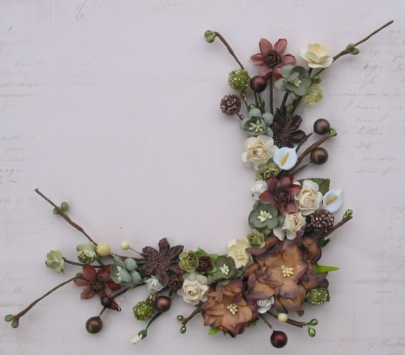 Brown Gardenia and Bead Corner Bouquet for Scrapbooking