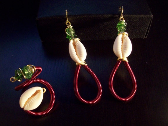 Burgundy Coiled Earrings and Ring Set