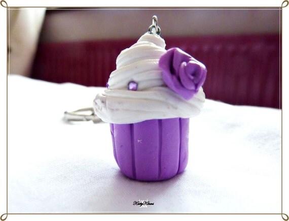 purple cupcake keychain