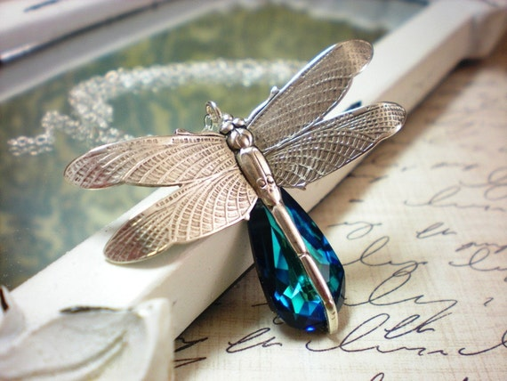 Mystical Dragonfly- Swarovski Crystal Sterling Silver Necklace