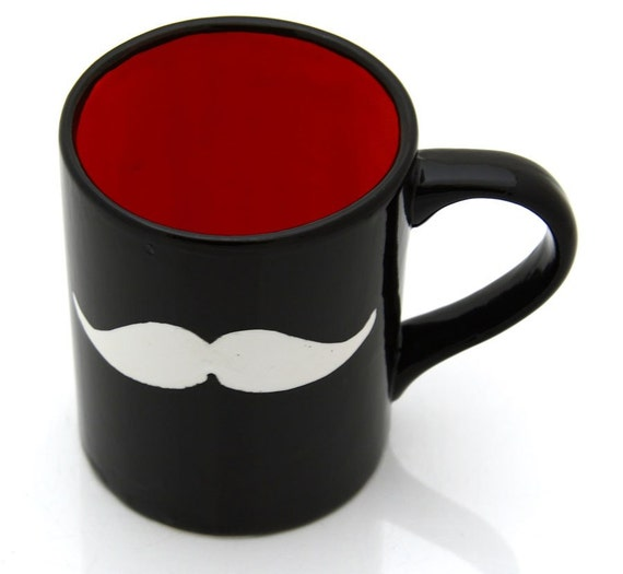 Moustache Mug Black with white Moustache Red Interior