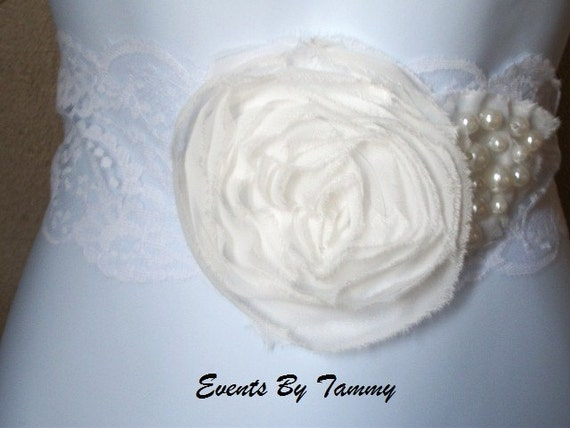 Vintage Inspired White Lace and Cream Oraganza Flower With Pearls Bridal Sash