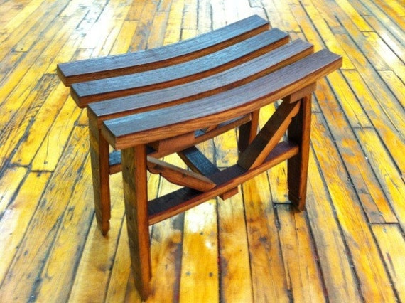 Recycled Wine Barrel Wine Makers Bench