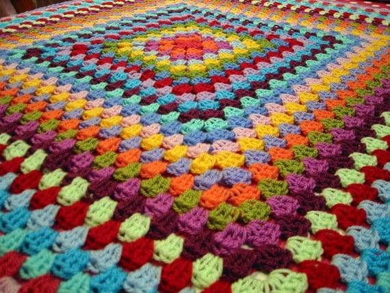 Gorgeous Vibrant Rainbow Granny Square Blanket FREE POSTAGE
