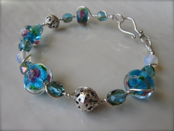 Beautiful Blue Wire Wrapped Bangle Bracelet