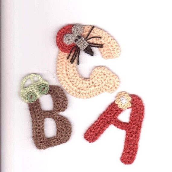 Crocheted letters A - Z Personalized Optional Applique Different application of choice Yarn Different colors Handmade by Dimana