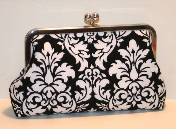 Black and White Damask Large Clutch Purse