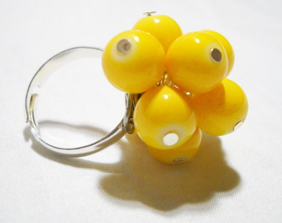 Yellow Beaded Chunky Adjustable Ring