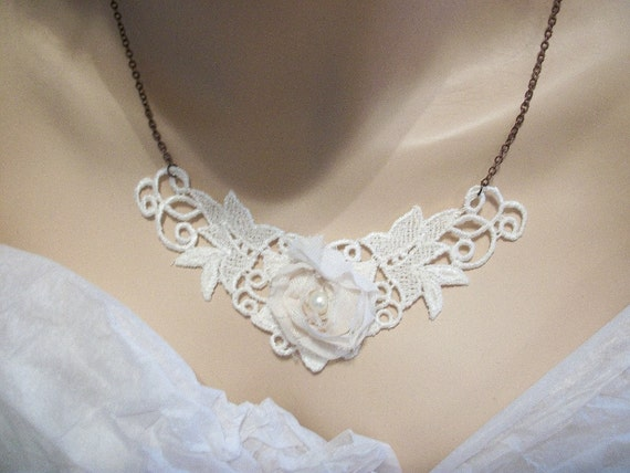 Cream Lace Rosette choker necklace