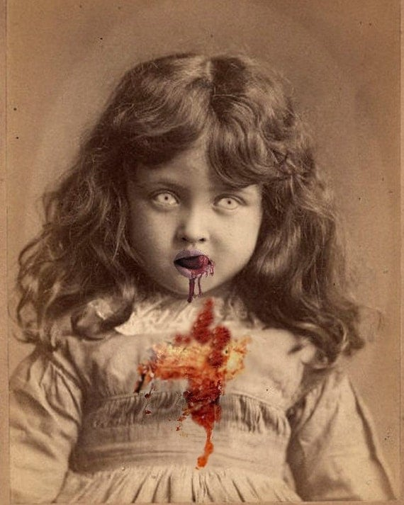 Lucy the Zombie Girl - Altered Image - 8 X 10 Art Print