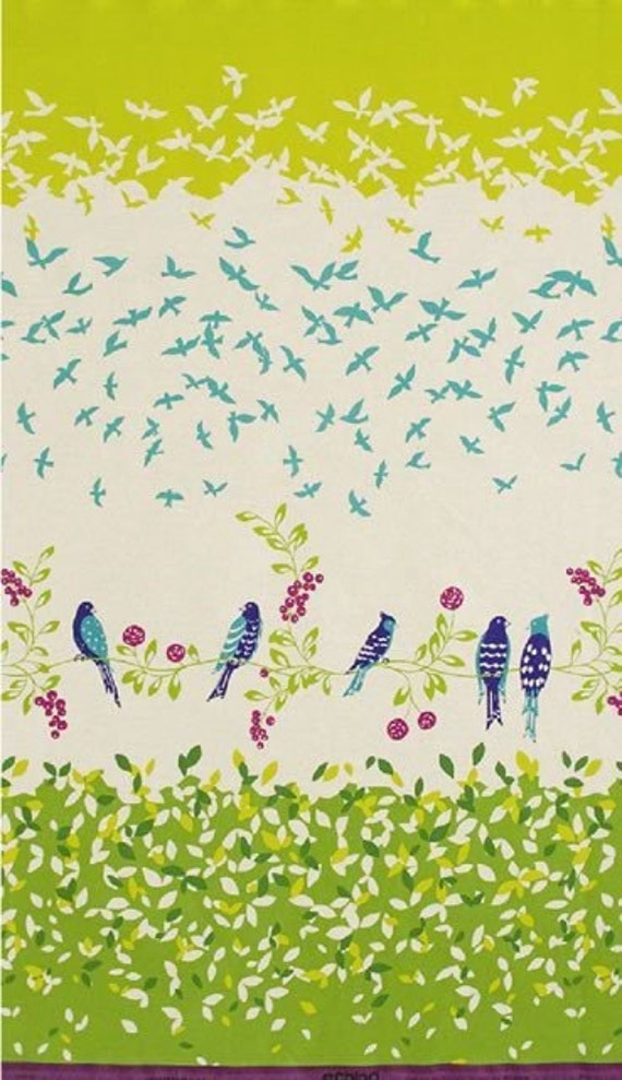 Birdsong in Green - ECHINO Japanese Imported Fabric - Half Yard