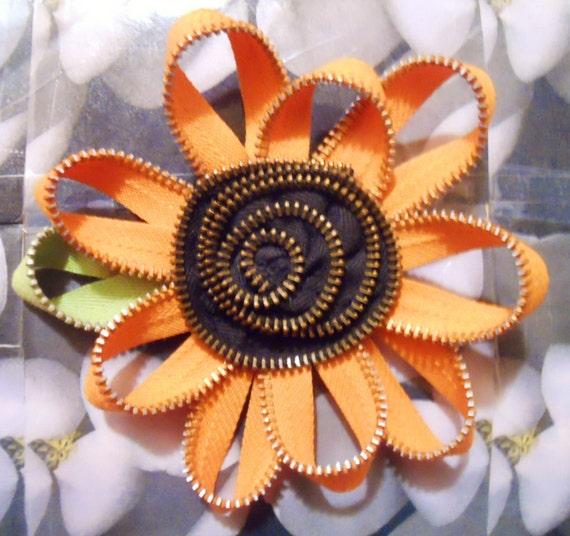 Orange Rozette with Black & Gold center