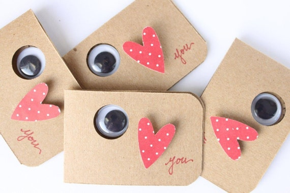 valentines day card eye i love you note cards set of four - Homemade Valentine Cards For Kids