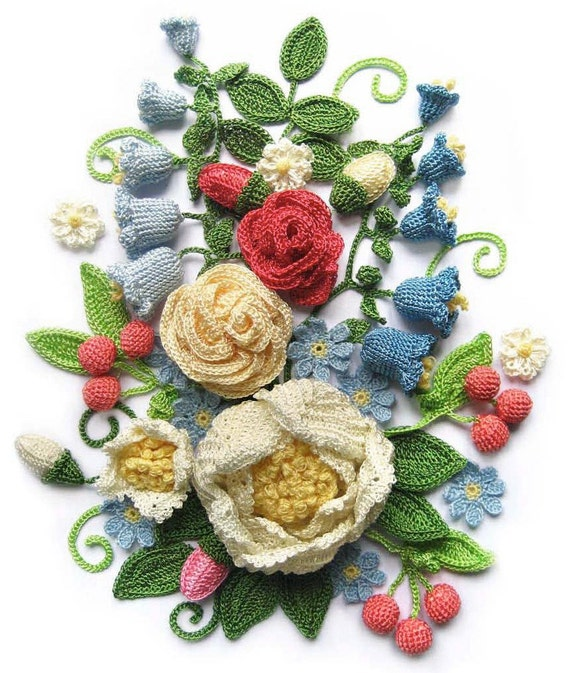 Free shipping 30  crochet flowers pattern 1(PDF)