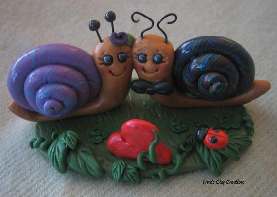 Polymer Clay Love Snails Cake Topper