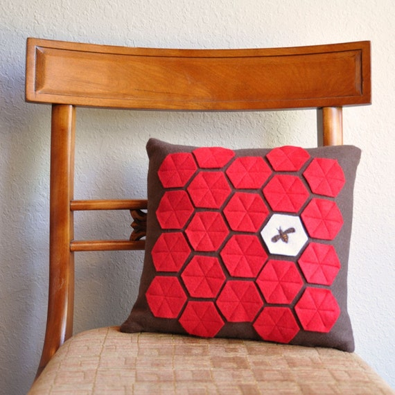 Bee in Honeycomb Felt Pillow