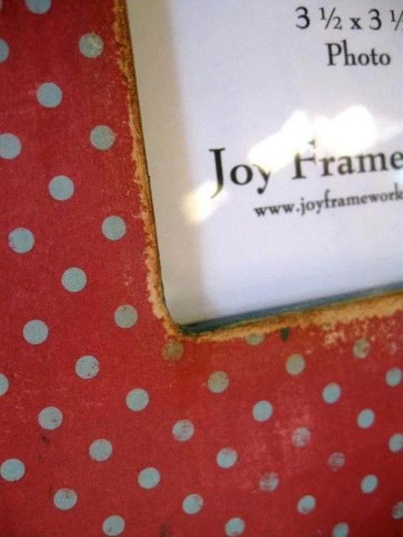 Boutique Red and Teal Polka Dot Picture Frame