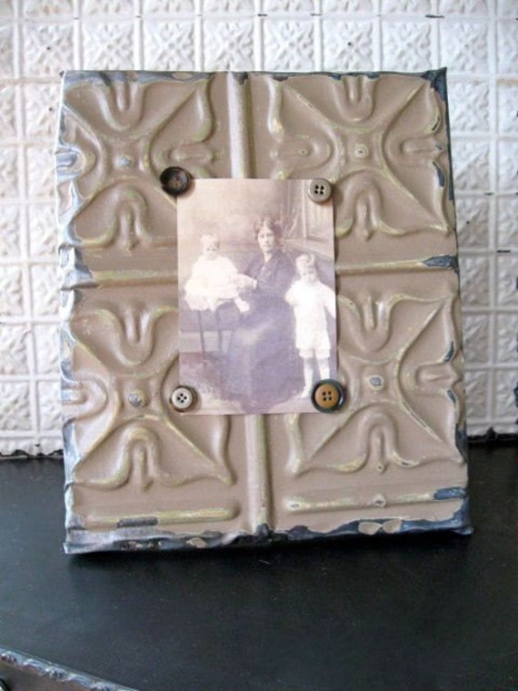PISTACHIO Magnetic Picture Frame and Inspiration Board Made wtih Antique Ceiling Tin