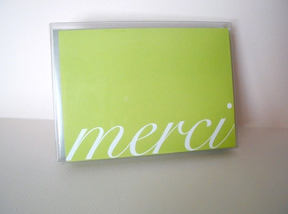 Boxed Set of 10 Light Green Merci Notes