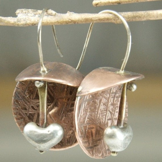 Pendulum Heart - Earrings - Mixed Metal, Sterling and Copper with brass