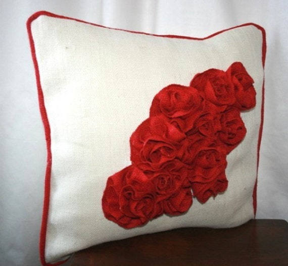 Bouquet of rose burlap pillow with red piping 20x20