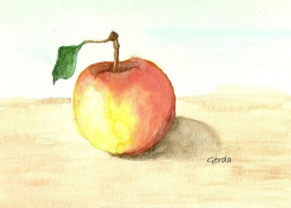 Apple watercolor print