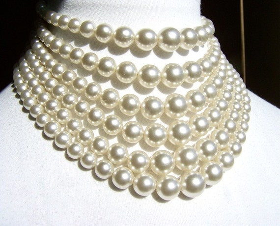 Necklace Six Strand Vintage Pearl Statement by dabchickvintagegems