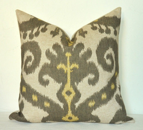 Set of Two - Decorative Pillow Covers - Ikat Print - On BOTH SIDES - 16x16 inches - Yellow - Gray - Neutral - Batik - Throw Pillows - Toss Pillows