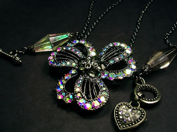 Vintage Inspired 1920's era irisdescent glass jeweled pendant and brooch.