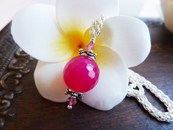 Flood Relief Appeal - Hot Pink Agate & Swarovski Crystal Pendant Necklace