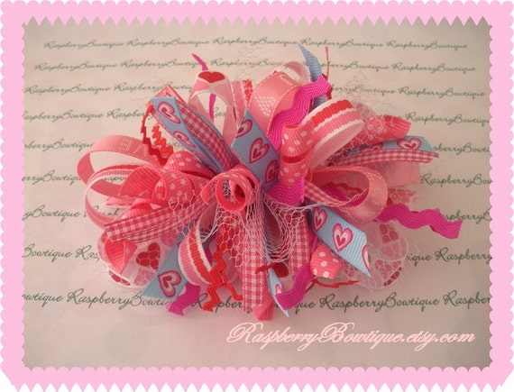 Valentine Boutique Layered Funky Loopy Hair Bow Hair Clip---Ready to be shipped