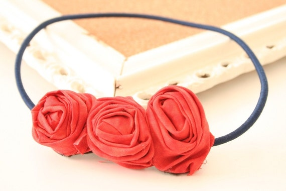 Triple Cherry fabric rosette headband