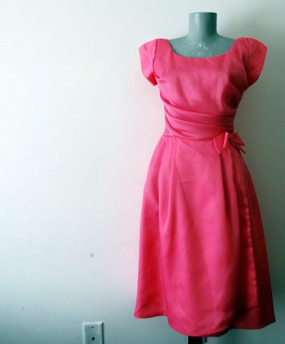 50's Pink Satin Dress