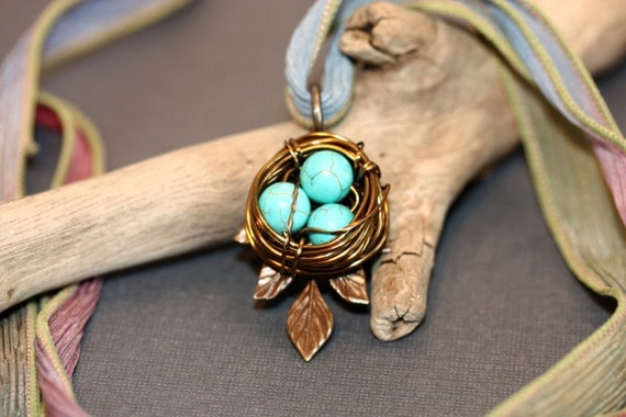 Handwoven Nest Necklace, Brass and Turquoise