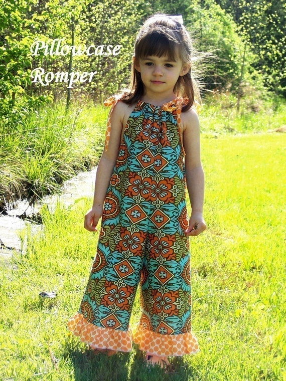 Check my 3pack for 20.00 WHIMSY COUTURE Sewing Pattern Tutorial PDF ebook Pillowcase Romper sizes preemie through 10 girls with Center Ruffle And snap buttons