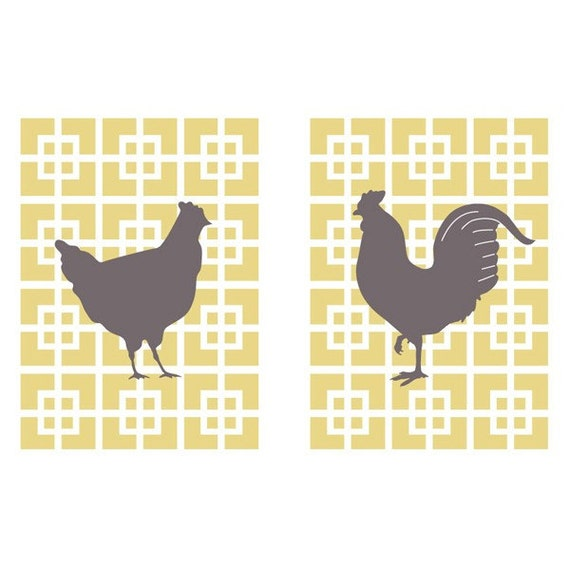 Hen and Rooster Set Prints (2 Prints 5x7) (Yellow and Brown) (Modern French Style)
