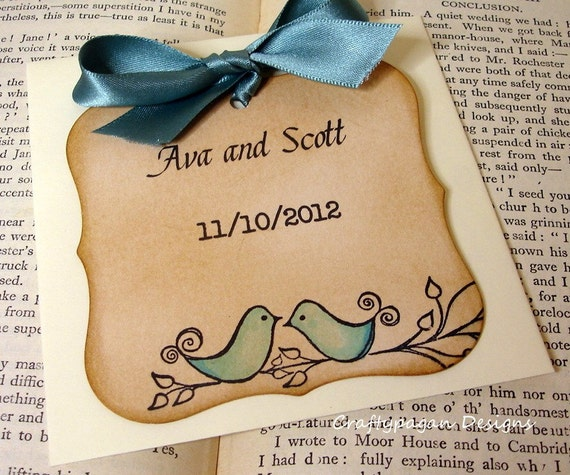 The Love Birds Vintage Save The Date Magnet Tags-Colour Options Available