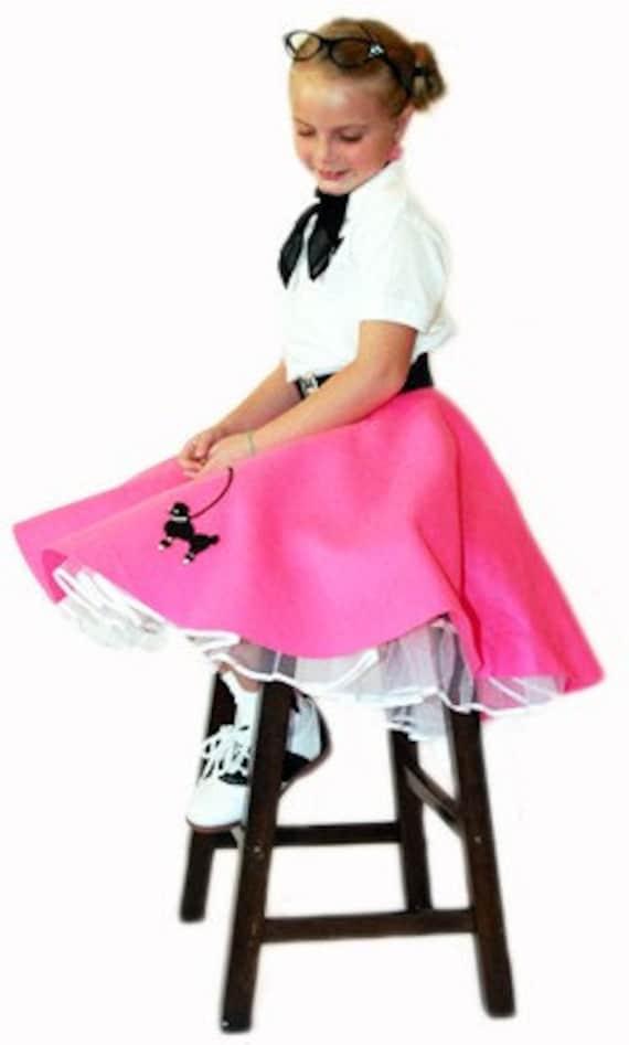 3 pc Girls 50u0026#39;s POODLE SKIRT outfit 4-6 Sm CHILD Choose | eBay