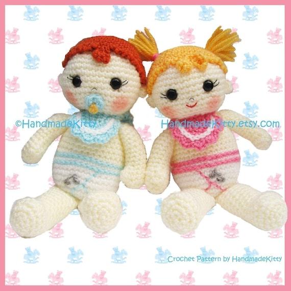 Baby Boy and Baby Girl Amigurumi PDF Crochet Pattern by HandmadeKitty