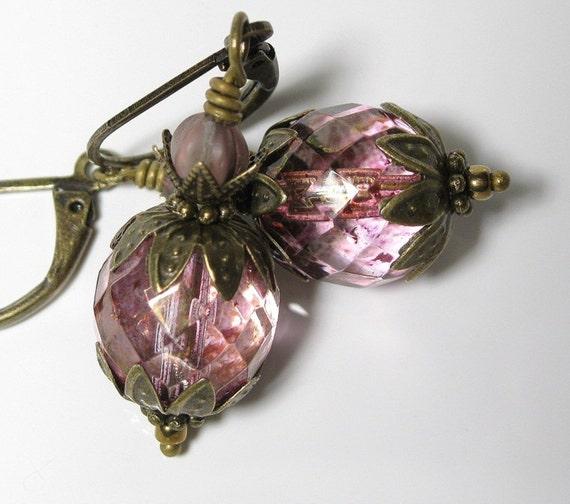 Topaz Pink Luster Vintage Style Earrings