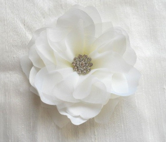 Audrey White or Ivory Bridal Hair Flower with Diamond Rhinestone Center